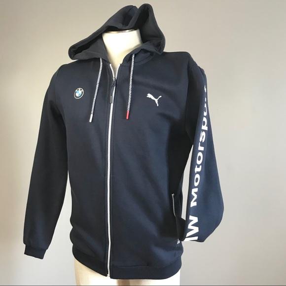 Puma BMW Motorsport blue hooded sweat track jacket NWT